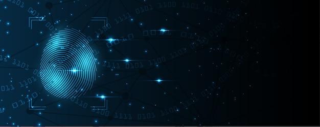 Scansione delle impronte digitali di concetto cyber digitale di sicurezza il fondo astratto di tecnologia protegge l'innovazione del sistema