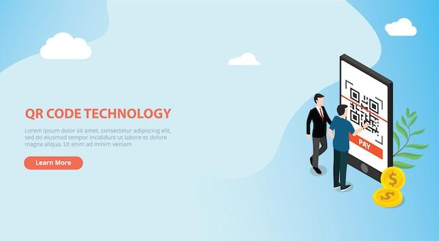Scansione di tecnologia di pagamento online isometrica qr-code