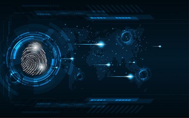 Scansione digitale di impronte digitali di concetto cyber di sicurezza