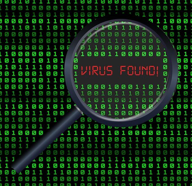 Scansione lente d'ingrandimento e virus trovati