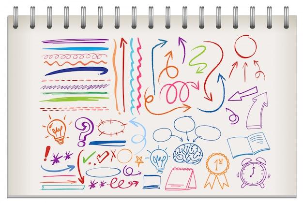 Scarabocchi colorati su notebook
