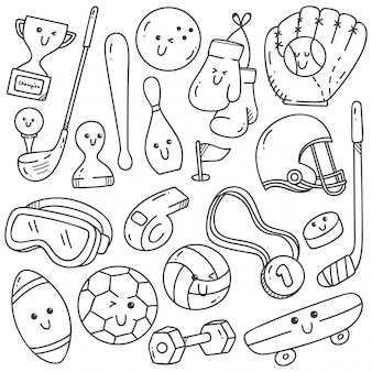 Scarabocchi di attrezzature sportive in stile kawaii line art