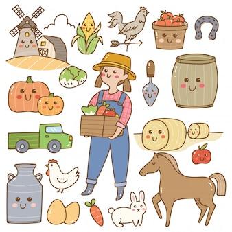 Scarabocchi di kawaii dell'attrezzatura agricola e dell'agricoltore