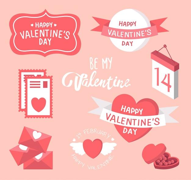 Scarabocchi di san valentino - molti elementi di design carini - cuore, lettera d'amore, cuori, regalo.