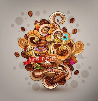 Scarabocchi di vettore disegnato a mano su un tema di caffè
