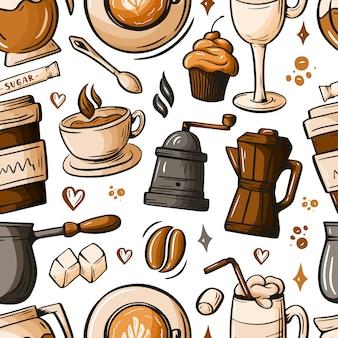 Scarabocchi disegnati a mano del fumetto sul tema del caffè, caffetteria