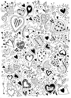 Scarabocchi disegnati di cuori e amore