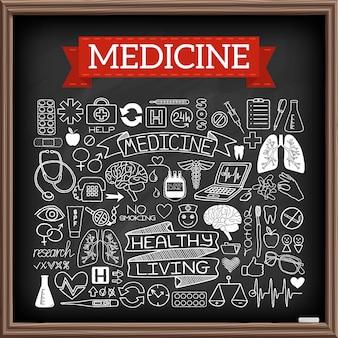 Scarabocchi medici sul bordo di gesso