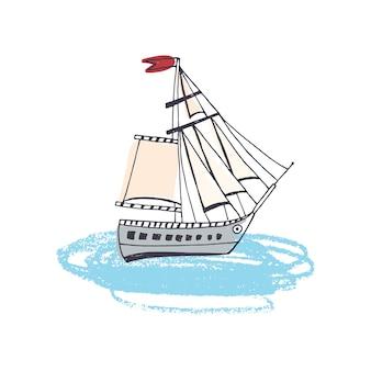 Scarabocchii il disegno della nave passeggeri, della barca a vela classica o della nave marina con la vela in oceano. barca a vela o yacht in viaggio per mare.