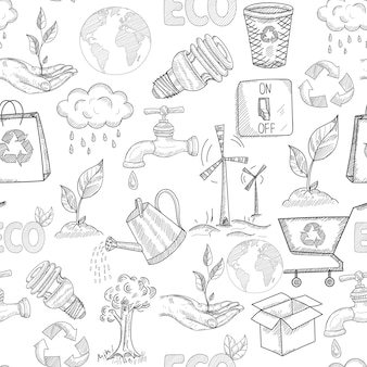 Scarabocchii il modello senza cuciture di ecologia con i simboli di conservazione della natura delle piante vector l'illustrazione