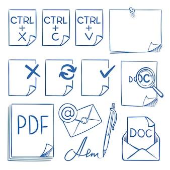Scarabocchii le icone di carta dell'ufficio con i simboli di funzione che aggiornano, incollano, tagliano, copiano, inviano, cancellano e modificano