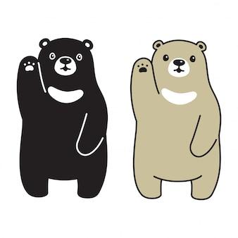 Scarabocchio dell'illustrazione del fumetto del personaggio polare dell'orso