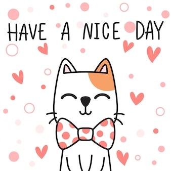 Scarabocchio disegnato a mano adorabile sveglio del fumetto di saluto della famiglia del gattino del gatto del bambino