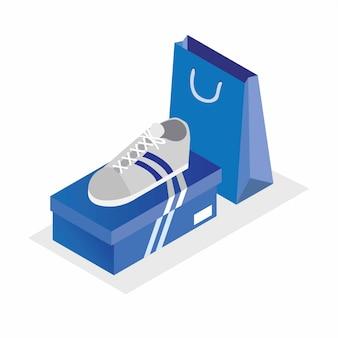 Scarpe bianche di sport con l'illustrazione isometrica del sacchetto della spesa e della scatola blu editabile
