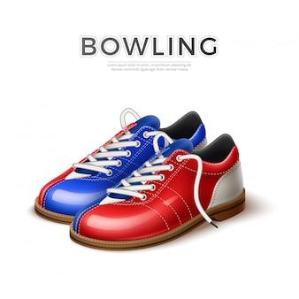 Scarpe da bowling realistci di vettore blu e rosse