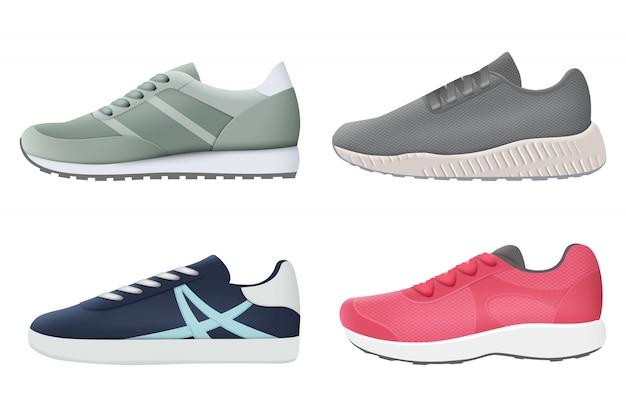 Scarpe da ginnastica. collezione di scarpe da ginnastica realistiche di scarpe sportive colorate per lo stile sano