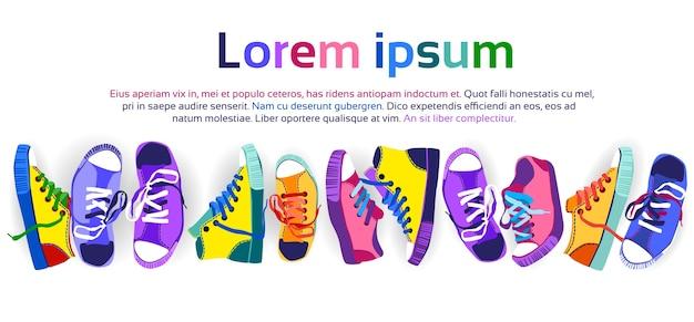 Scarpe da ginnastica colorate formazione scarpe sportive impostate