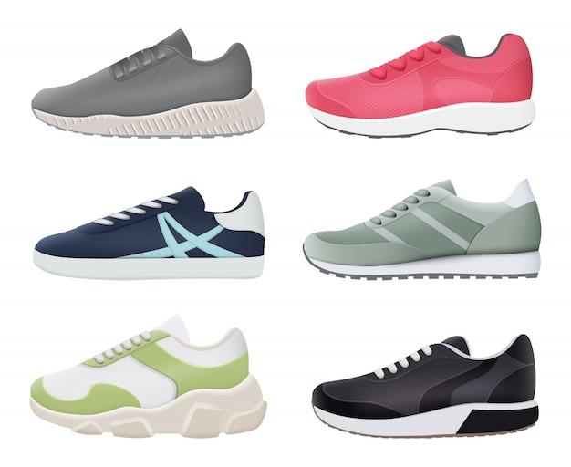 Scarpe da ginnastica. sport fitness sano scarpe da corsa stivali grandi piedi immagini realistiche alla moda
