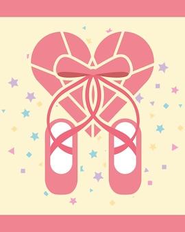 Scarpe da punta balletto rosa cuore a forma di diamante