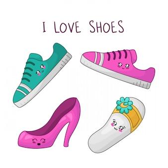 Scarpe da ragazza kawaii. amo le scarpe