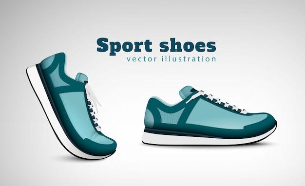 Scarpe da tennis correnti di addestramento di sport che pubblicizzano composizione realistica con l'illustrazione comoda delle scarpe da tennis di usura di ogni giorno comoda d'avanguardia