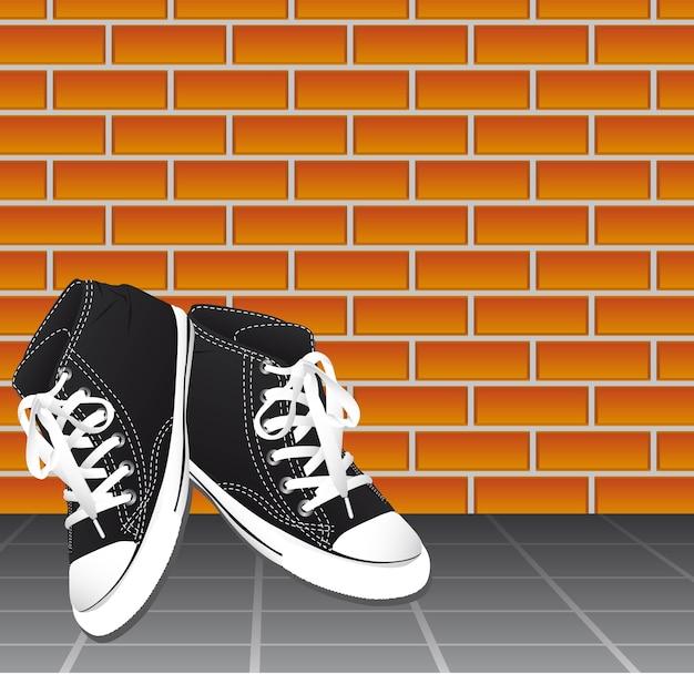 Scarpe da tennis nere sopra il pavimento e il vettore del fondo della parete di mattoni