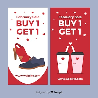 Scarpe e coppa banner di vendita di San Valentino