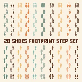 Scarpe footprints colorful tracks set