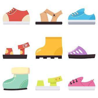 Scarpe per bambini per bambino e bambina. icone piane del fumetto delle scarpe da tennis, dei sandali e degli stivali isolate su bianco