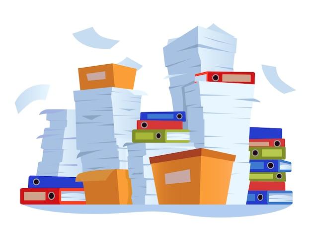 Scartoffie non organizzate. pila di documenti cartacei, illustrazione del fumetto di scompiglio della documentazione del lavoro d'ufficio