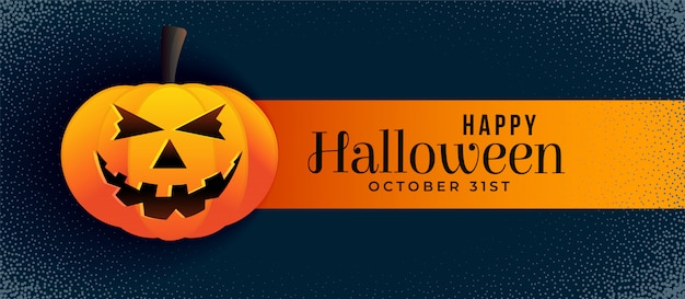 Scary banner di halloween con zucca sorridente