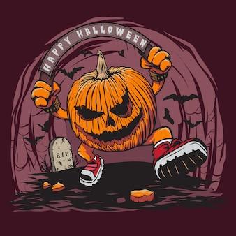Scary halloween pumpkin head con colorazione