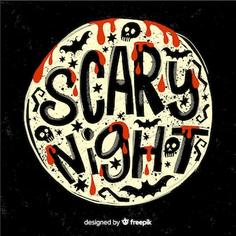 Scary night lettering su una luna piena