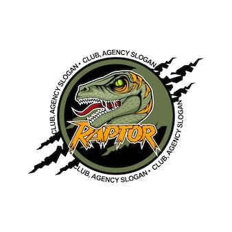 Scary raptor al centro con la bocca aperta. modello di logo della squadra.