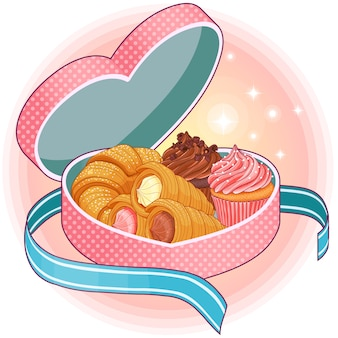Scatola a forma di cuore rosa con dolci