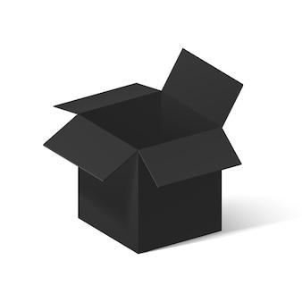 Scatola aperta nera isolata su bianco