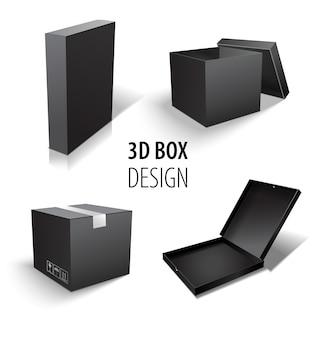 Scatola che imballa insieme della scatola nera 3d. set di consegna di pacchi di diverse dimensioni.