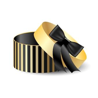 Scatola da imballaggio rotonda 3d nera con oro