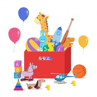 Scatola dei giocattoli piena di giocattoli per bambini