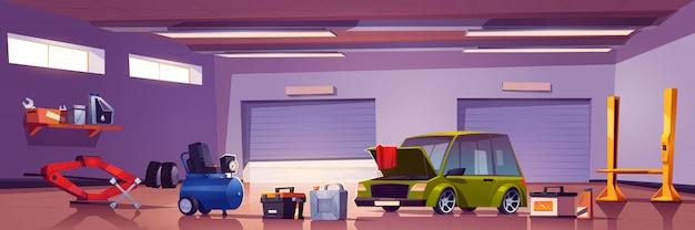 Scatola del meccanico di servizio di riparazione auto con automobile