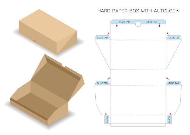 Scatola del pacchetto fustellata con 3d mock up con blocco automatico