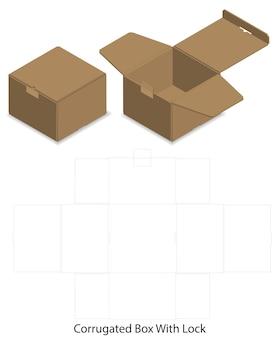 Scatola del pacchetto fustellata con 3d mock up