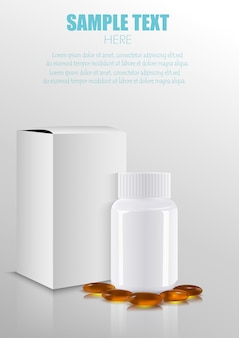 Scatola di carta del pacchetto di imballaggio medico in bianco della medicina con la bottiglia e le pillole di plastica