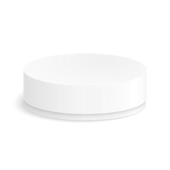 Scatola di carta rotonda per il vostro disegno su uno sfondo bianco.