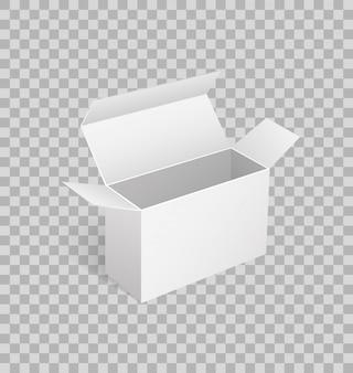 Scatola di cartone aperta di forma quadrata in 3d isometrico