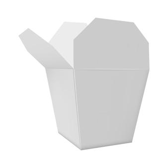 Scatola di cartone bianca aperta per alimenti a rapida preparazione