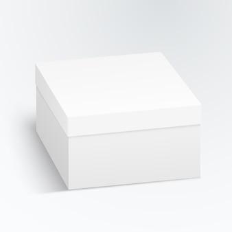 Scatola di cartone bianca, contenitore, imballaggio isolato su priorità bassa bianca.