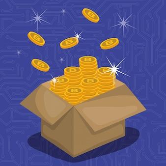 Scatola di cartone con monete virtuali