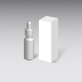 Scatola di cartone di medicina isolato su sfondo grigio.