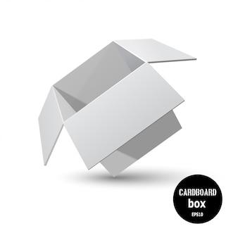 Scatola di cartone grigia inclinata con un'ombra su uno sfondo bianco.
